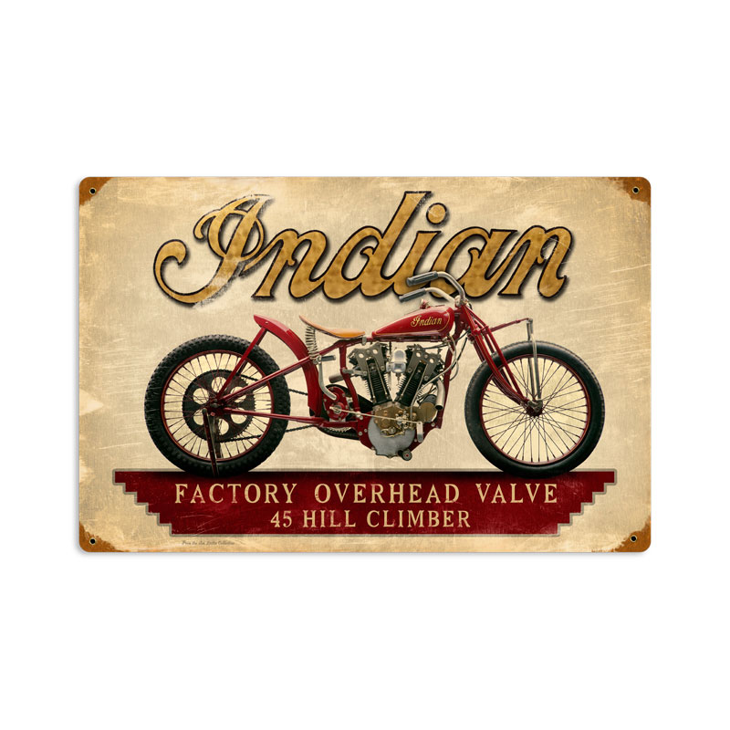 INDIAN HILLCLIMBER MOTORCYCLE HEAVY METAL SIGN
