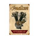 INDIAN OVERHEAD MOTORCYCLE ENGINE HEAVY METAL SIGN