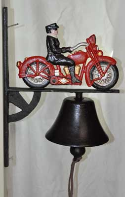 RED MOTORCYCLE WALL MOUNTED BELL