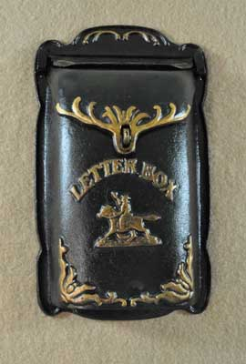 HORSE RIDER LETTER BOX WALL MOUNT CAST IRON NICE