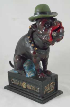 BULLDOG HAT MECHANICAL BANK CAST IRON