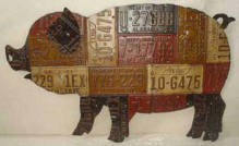 LARGE PIG WALL HANGING AUTO TAG ART