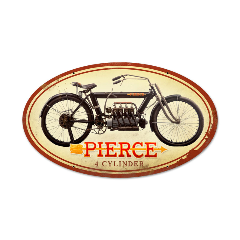 PIERCE FOUR CYLINDER MOTORCYCLE METAL SIGN