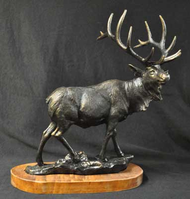 LARGE ELK ON WOOD BASE CAST IRON E