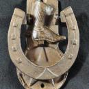 BOOT HORSESHOE DOOR KNOCKER CAST IRON