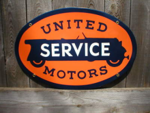 UNITED MOTORS PORCELAIN COAT SIGN