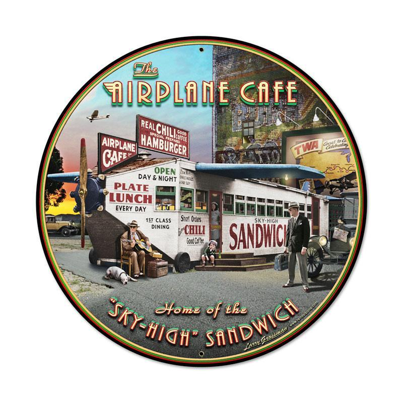 AIRPLANE CAFE ROUND 28 INCH STEEL SIGN CAFE RESTAURANT HOME DECOR