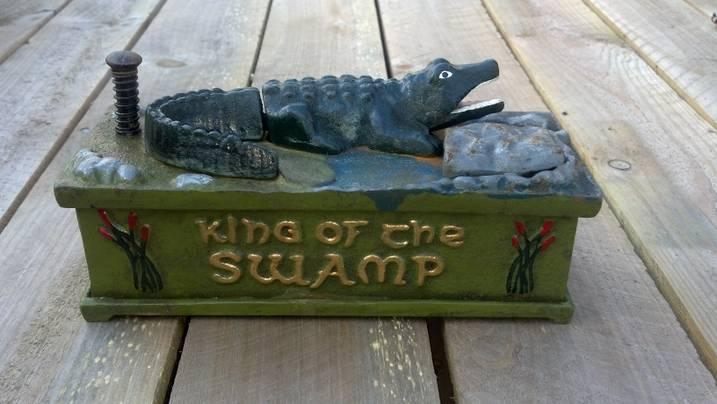 KING OF THE SWAMP MECHANICAL BANK NOSTALGIC CAST IRON