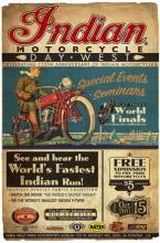 VINTAGE INDIAN 110TH ANNIVERSARY MOTORCYCLE HEAVY METAL SIGN