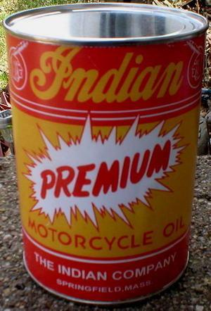 INDIAN PREMIUM MOTORCYCLE OIL CAN NEW EMPTY
