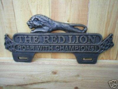 RED LION LICENSE PLATE SIGN CAST IRON