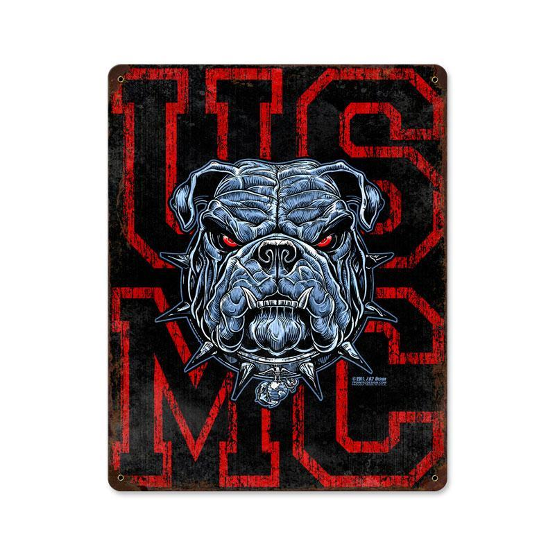 USMC BULL DOG HEAVY METAL SIGN