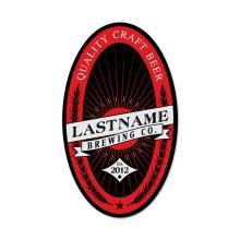 PERSONALIZED BREWING COMPANY YOUR LAST NAME OVAL METAL SIGN