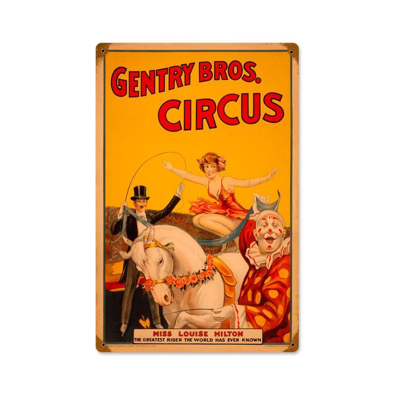 GENTRY BROS. CIRCUS HEAVY METAL SIGN