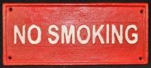RED NO SMOKING SIGN CAST IRON