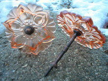 PINKISH ORANGE CURTAIN TIEBACKS ONE PAIR GLASS