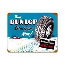 DUNLAP EXTRA GRIP SNOW TIRES HEAVY METAL SIGN