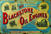 BLACKSTONE OIL ENGINES HEAVY METAL RECTANGLE SIGN