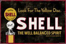 SHELL WELL BALANCED SPIRIT HEAVY METAL SIGN