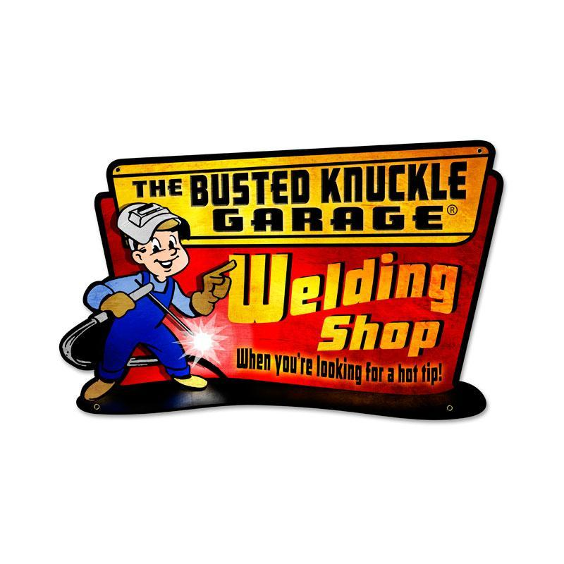 WELDING BUSTED KNUCKLE GARAGE HEAVY METAL SIGN
