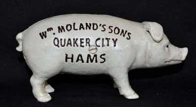 PIG BANK STANDING CAST IRON WM MOLANDER'S SONS QUAKER CITY HAMS