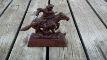 WINCHESTER HORSE RIDER FOUNDRY STATUE CAST IRON COIN BANK METAL UNUSUAL DIFFERENT
