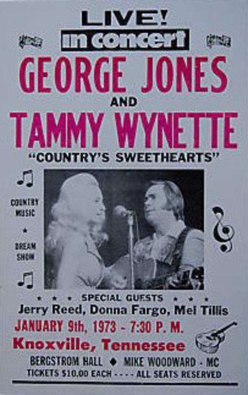 GEORGE JONES TAMMY WYNETTE POSTER knoxville tenn 1973 heavy paper CARDSTOCK