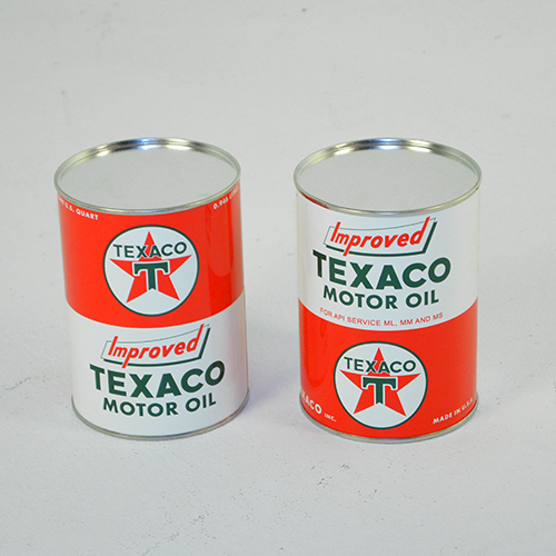 NEW TEXACO T STAR motor oil can ALL METAL PAINTED sealed empty 32 FLUID OZ