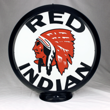 RED INDIAN GASOLINE gas pump globe SIGN