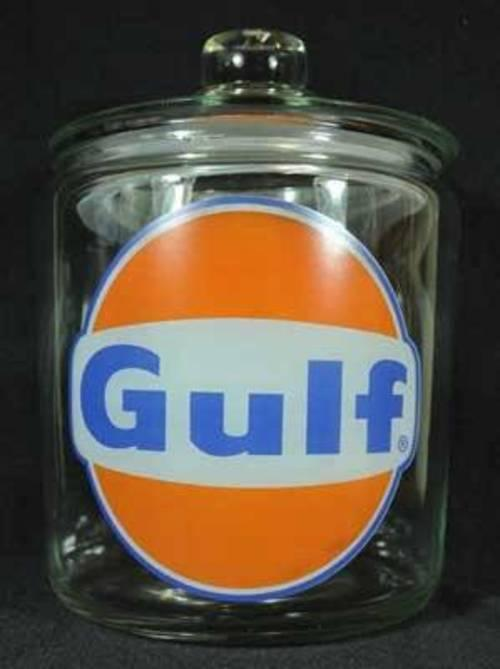 GULF CLEAR GLASS COUNTER JAR GASOLINE FILLING STATION HOME OFFICE DECOR