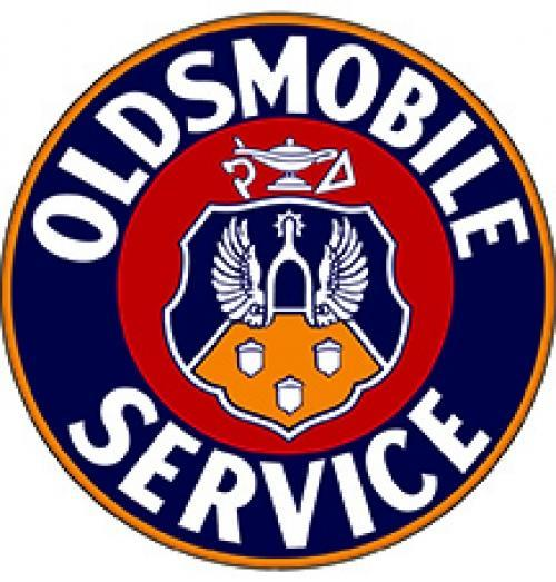 OLDSMOBILE SERVICE LOGO ROUND METAL SIGN 18