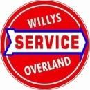 WILLYS OVERLAND SERVICE ROUND METAL SIGN 12