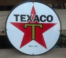 TEXACO T STAR ROUND PORCELAIN COATED SIGN 15
