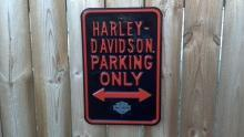 HARLEY PARKING ONLY HEAVY METAL SIGN