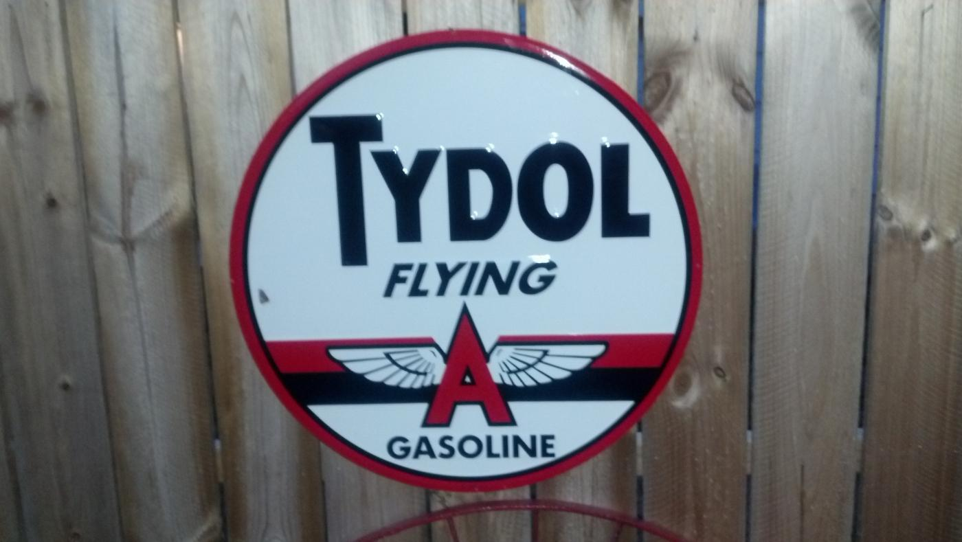 LARGE TYDOL GASOLINE TIN   SIGN  METAL ADV SIGNS