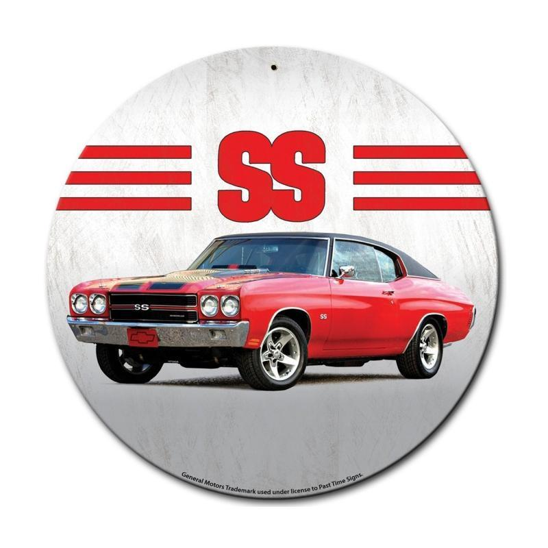 RED CHEVELLE GENERAL MOTORS ROUND METAL SIGN 14