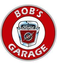 BOB'S F-100 GARAGE PERSONALIZED ROUND METAL SIGN 12