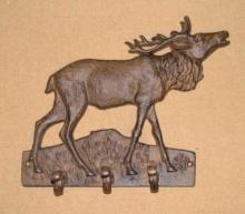 MOOSE COAT RACK CAST IRON 3 HOOK WALL HANGER