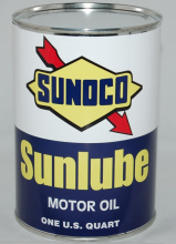 SUNOCO SUNLUBE MOTOR OIL CAN METAL 32 FL. OZ