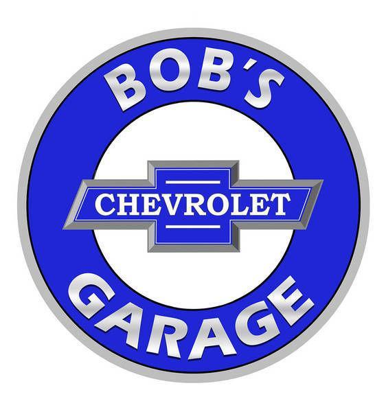 BOB'S CHEVROLET GARAGE PERSONALIZED ROUND METAL SIGN 12