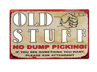 OLD STUFF METAL TIN SIGN