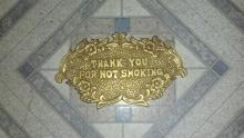 OLD SOLID BRASS CASH REGISTER THANK YOU FOR NOT SMOKING SIGN