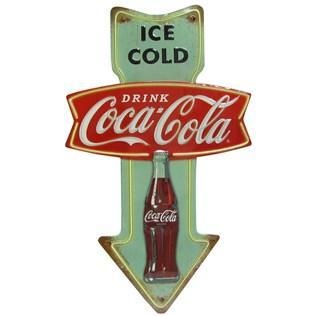ICE COLD Drink COCA-COLA EMBOSSED Metal SHOP Garage MAN CAVE Sign 24