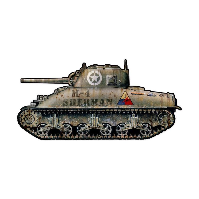 Sherman Tank CUSTOM Metal SIGN