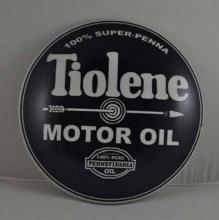 TIOLENE MOTOR OIL RETRO METAL DOME SIGN 12
