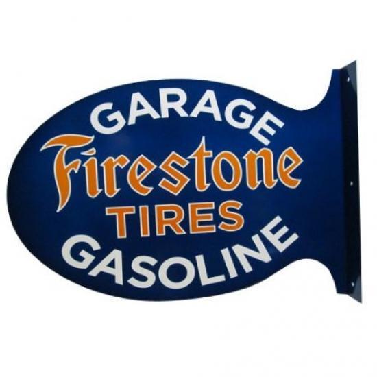 FIRESTONE TIRES WALL FLANGE Heavy 14 Gauge STEEL Double Sided SIGN