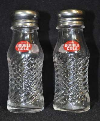 Clear Double Cola GLASS SALT PEPPER SET
