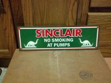 SINCLAIR No Smoking at Pumps PORCELAIN COATED SIGN S