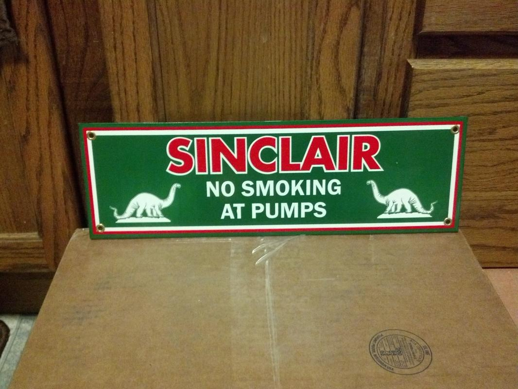 SINCLAIR No Smoking at Pumps PORCELAIN COATED SIGN S