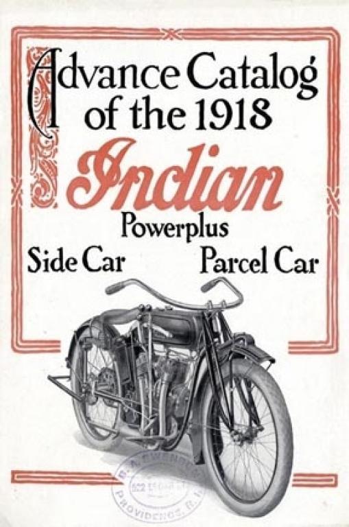Indian 1918 Advance Catalog Side Parcel Car Heavy Metal Sign
